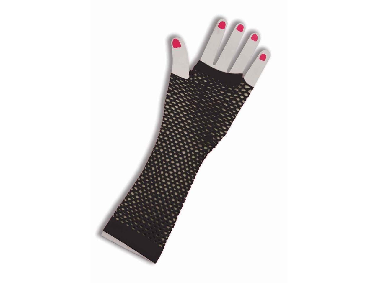 80/'s Long Neon Fishnet Gloves Costume Accessory