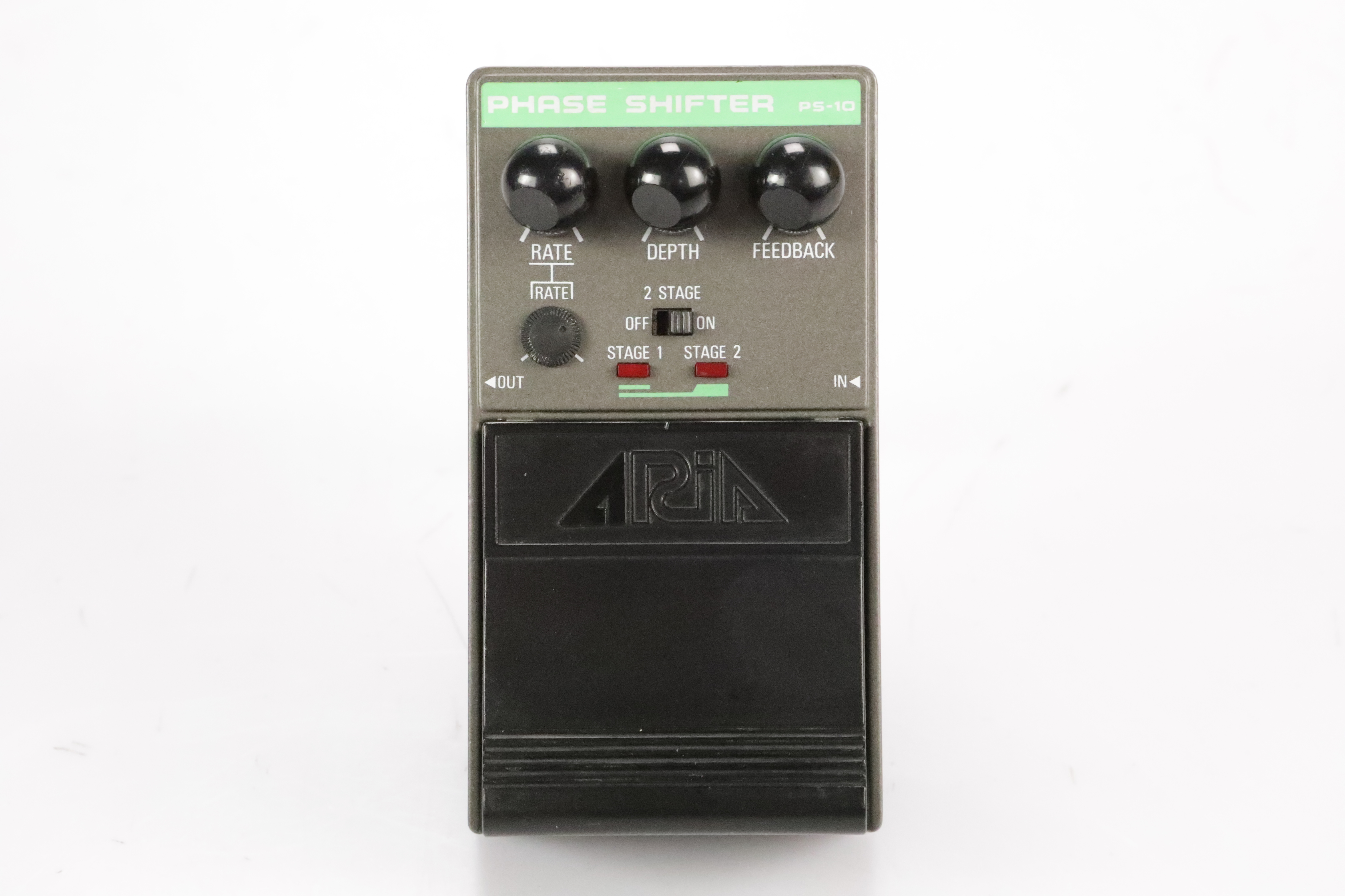 Aria PS-10 Phase Shifter Phaser Guitar Pedal w/ 2 Patch Cables PS10 #34704