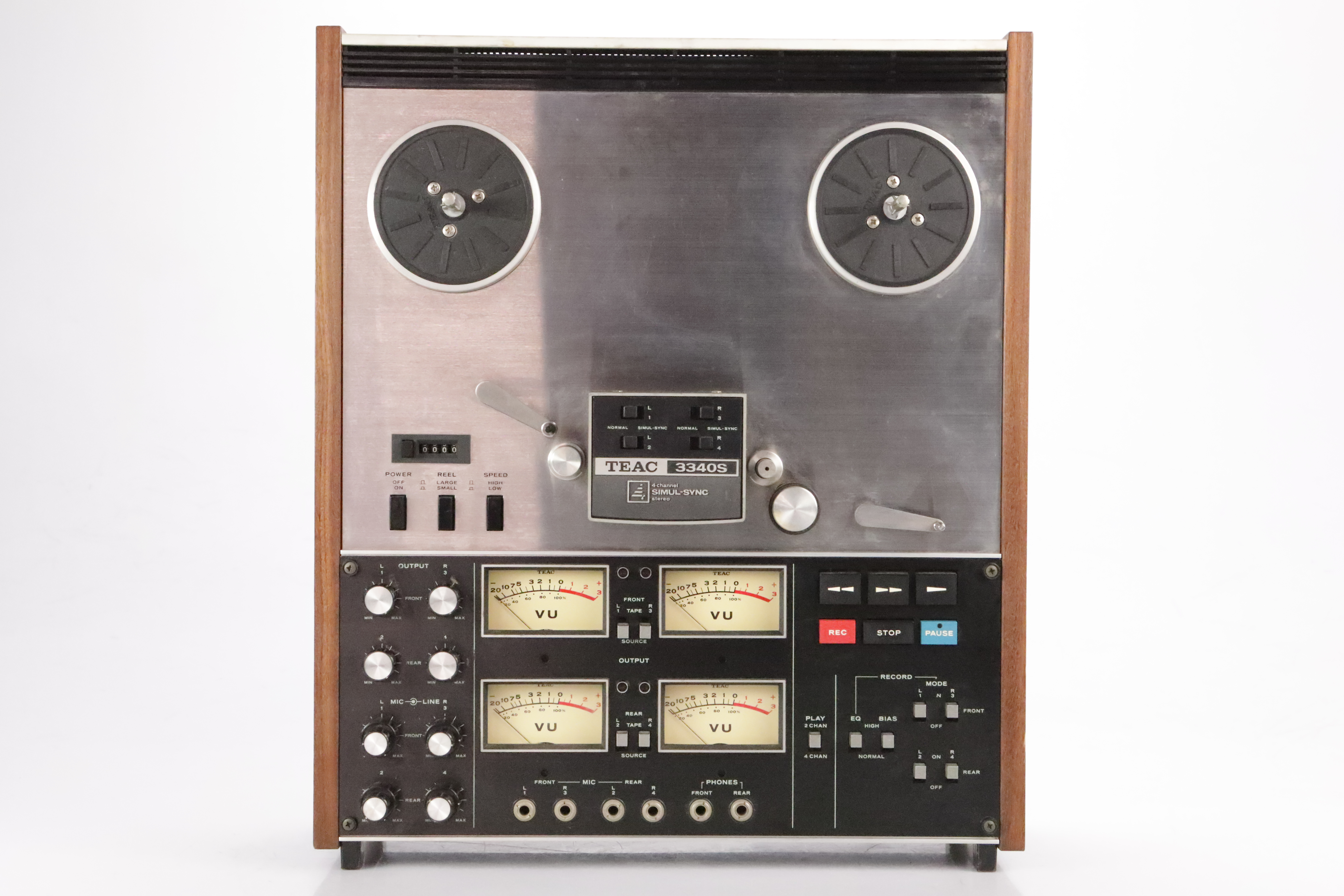 """TEAC 3340S 1/4"""" 4-Channel Reel Analog Tape Machine w/ 4 RCA Cables #34748"""