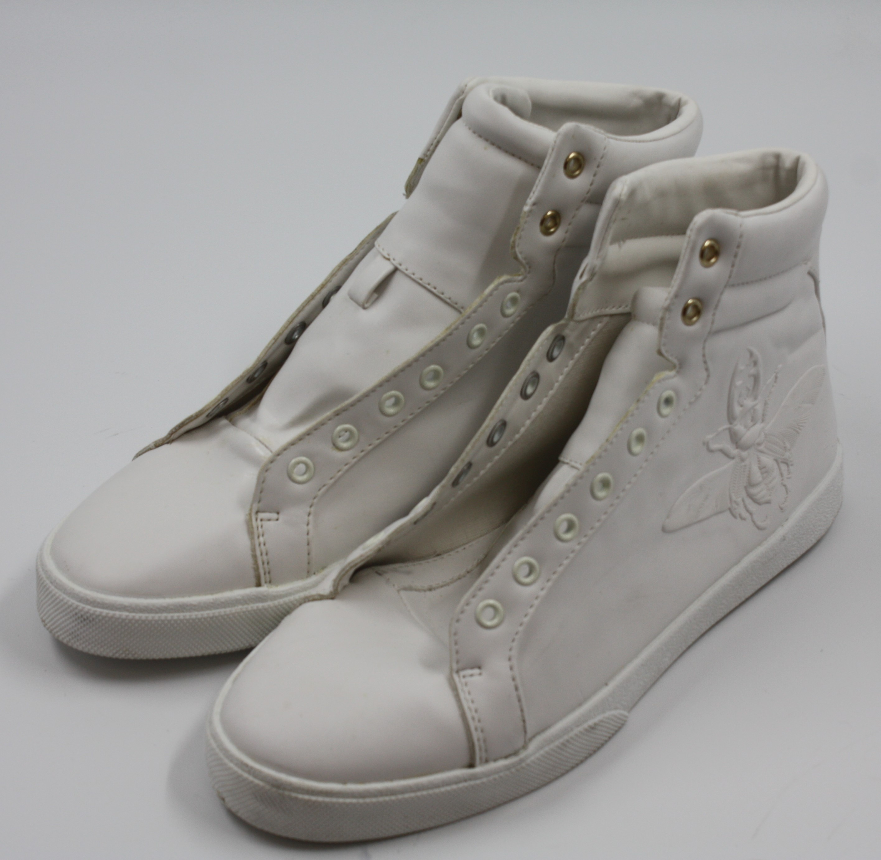 fd527c9f Details about Zara Mens White High Top Embossed Sneakers Shoes Size EU 40  U.S. 7