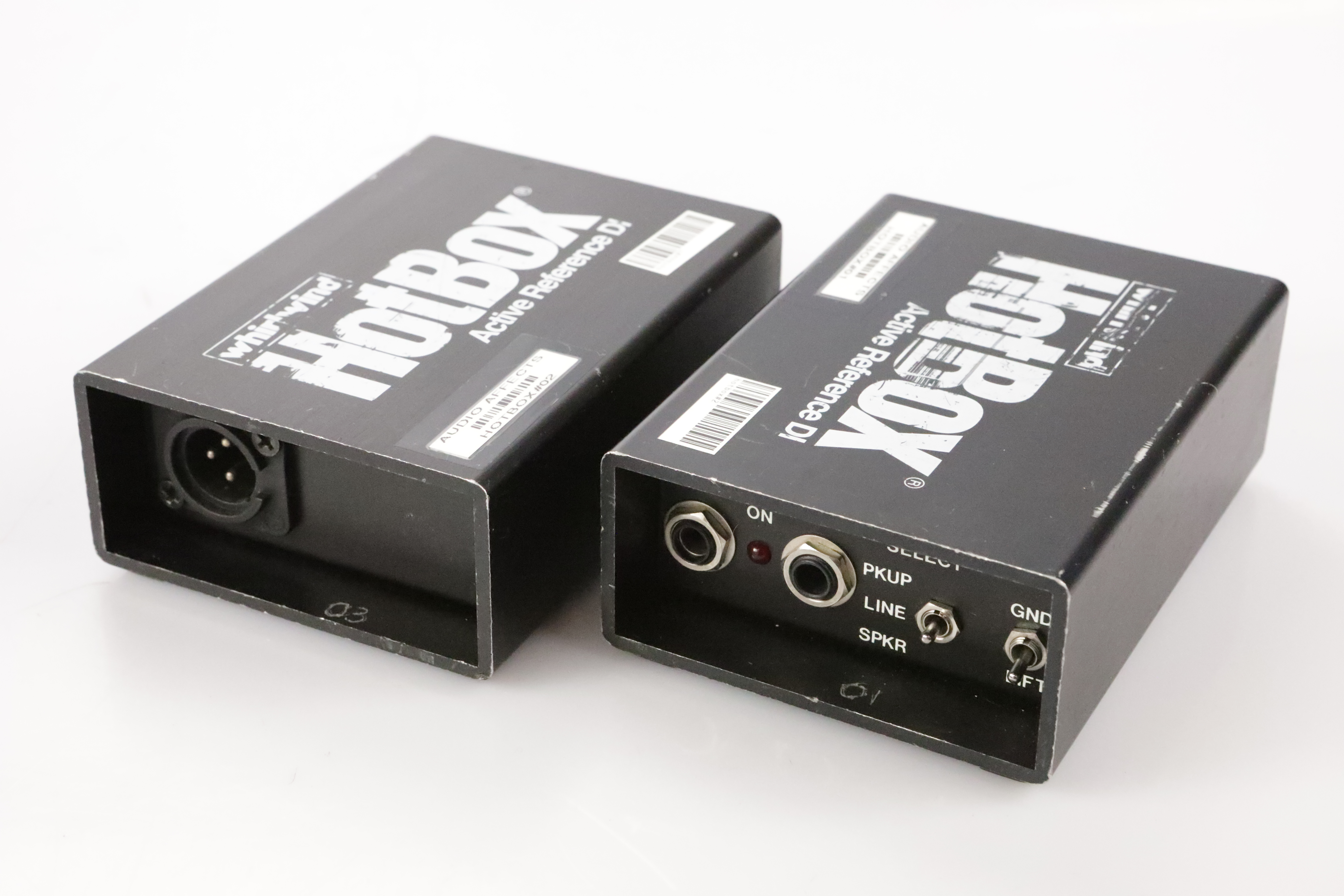 """2 Whirlwind Hotbox Active Direct DI Boxes w/ 2 Instrument 1/4"""" Cables #34687"""