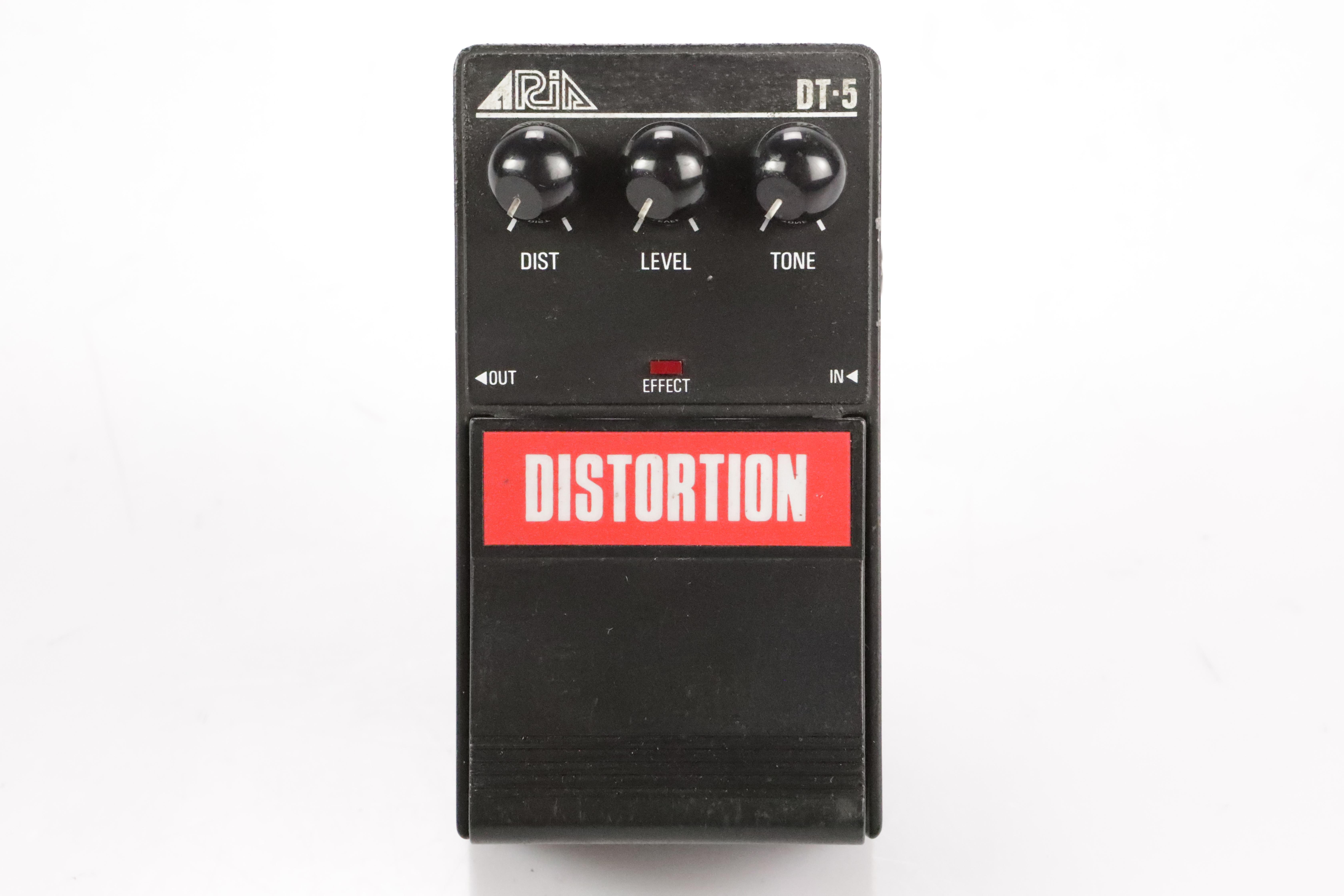 Aria DT-5 Distortion Guitar Effect Pedal w/ 2 Patch Cables DT5 #34707