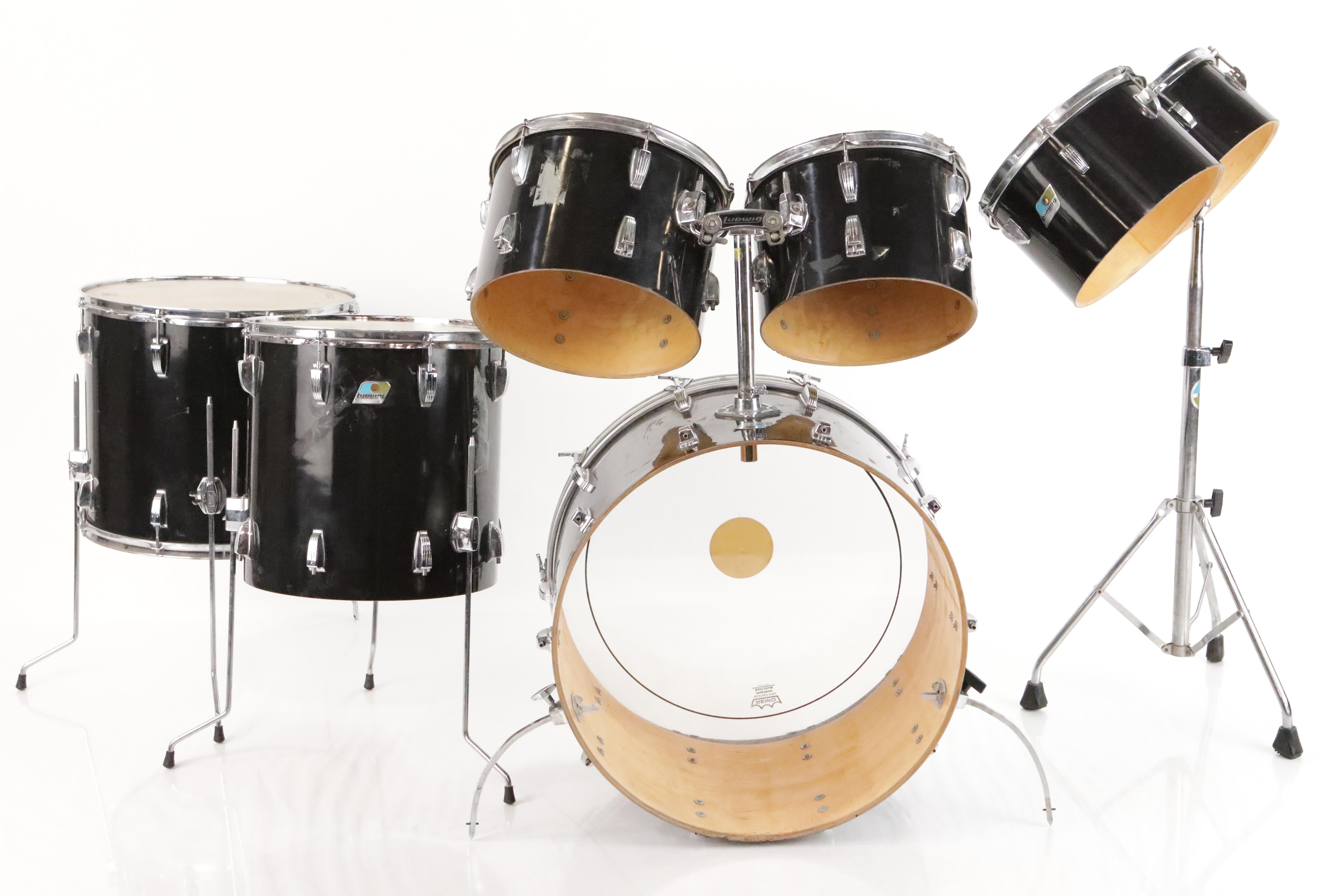 1979 Ludwig 7-Piece Black Cortex Drum Set Kit w/ Extras Leather Stick Bag #35151