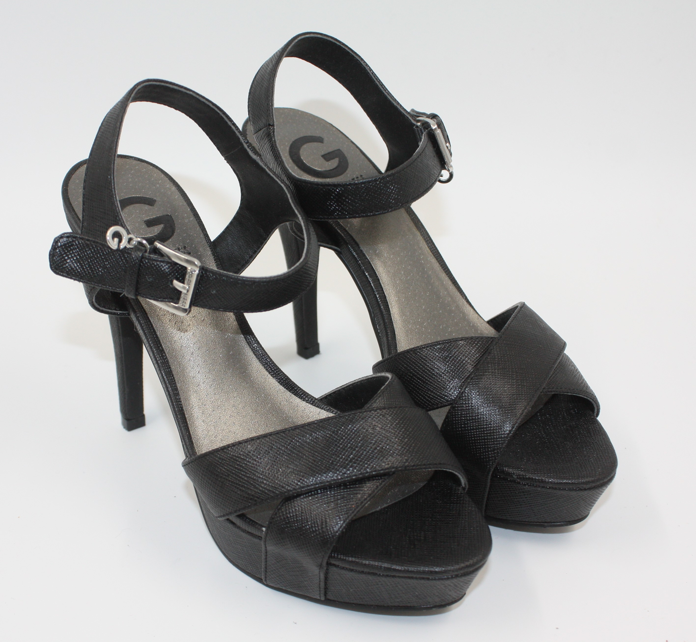 4cacbc87512 G By Guess Womens Ladies Black Open Toe Ankle Strap Platform Heels ...