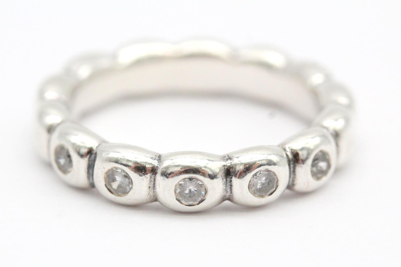 25ab81c33 Pandora (190829CZ) Sterling Silver, Clear CZ, Size 7, Bubble Stacking Ring  NEW