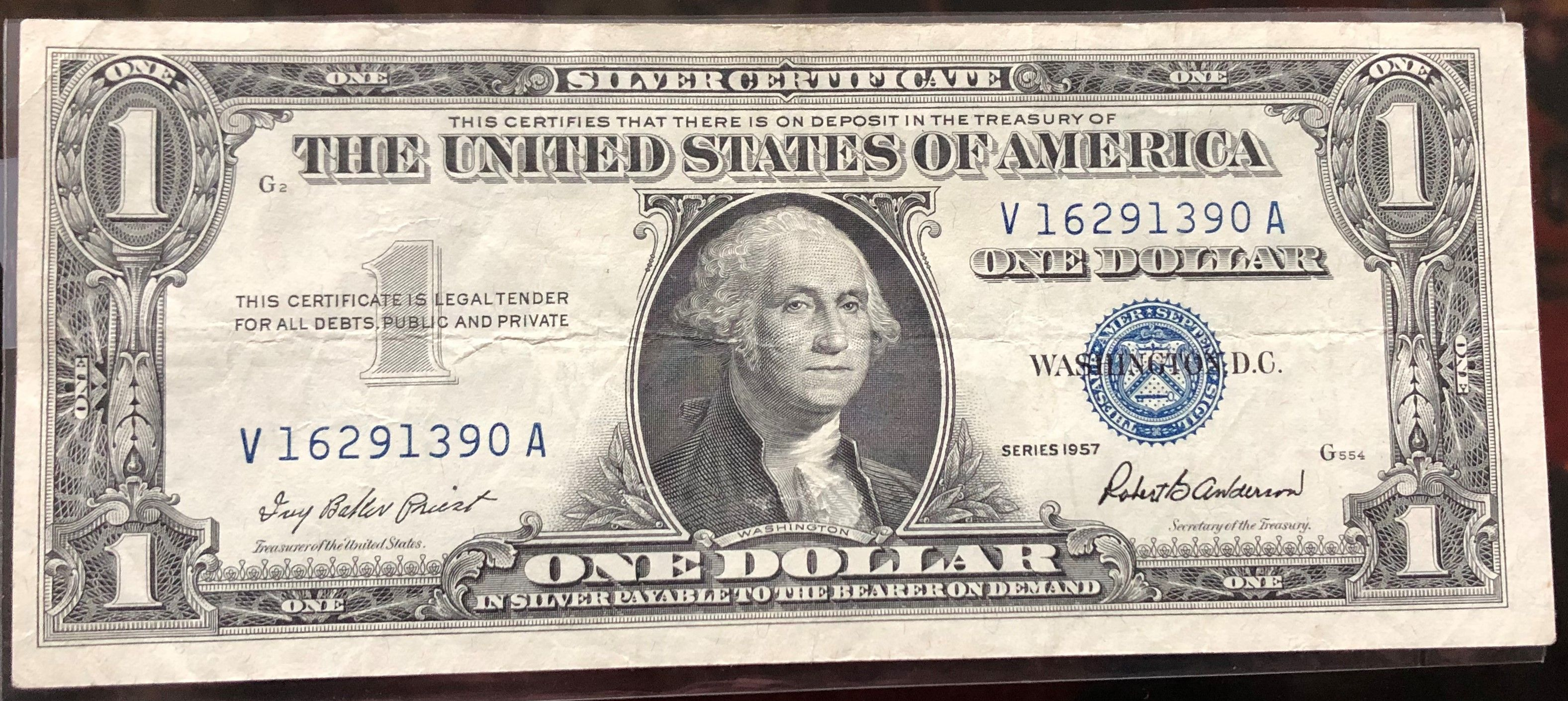 Series 1957 1 Dollar Silver Certificate Bill Note Currency Ebay