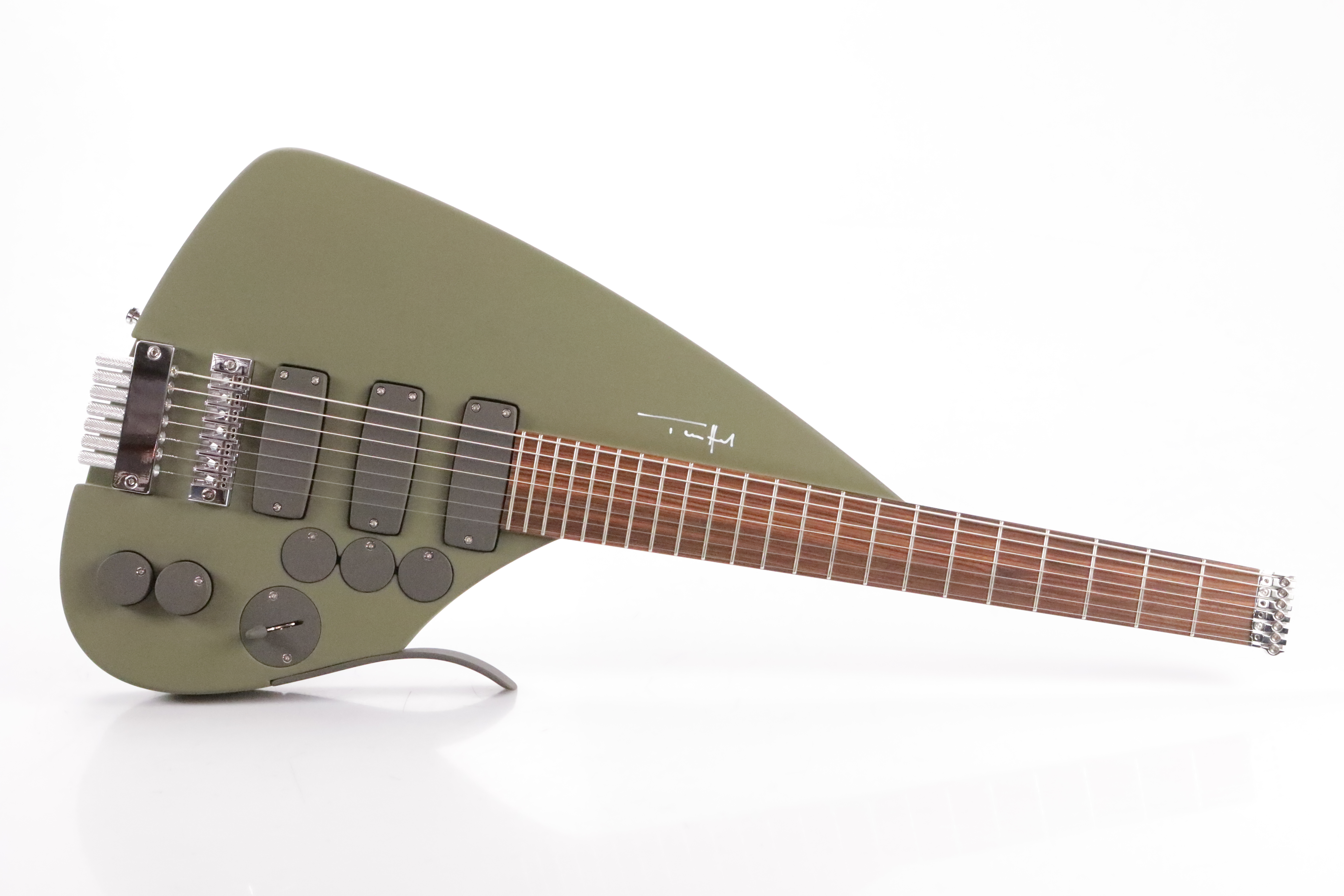 Teuffel Tesla Studio 7 String Electric Guitar Olive w/ Case #35681