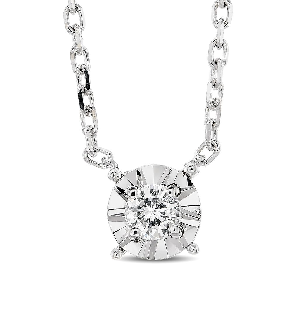 CARATS FOR YOU 14K Solid Gold 0.25ct Genuine Real Round Cut Natural Diamond Pendant Necklace For Women