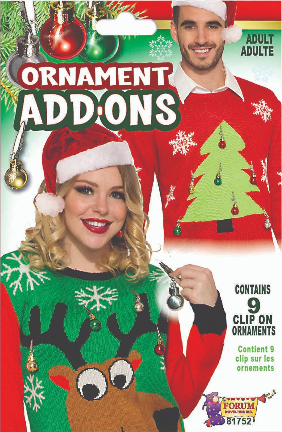 Details about Forum Novelties Ugly Christmas Sweater Ass-Ons-Ornaments Standard