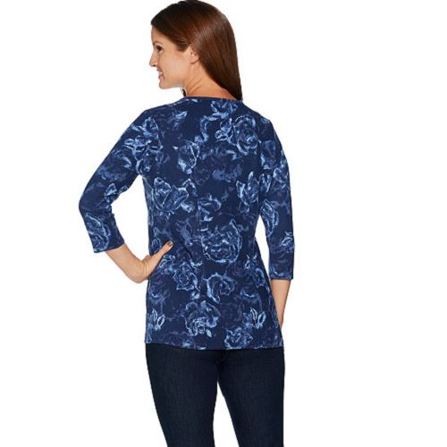 5ea4bf4a045717 Denim   Co. Size 3X Wine Floral Printed Brushed Heavenly Jersey 3 4 ...
