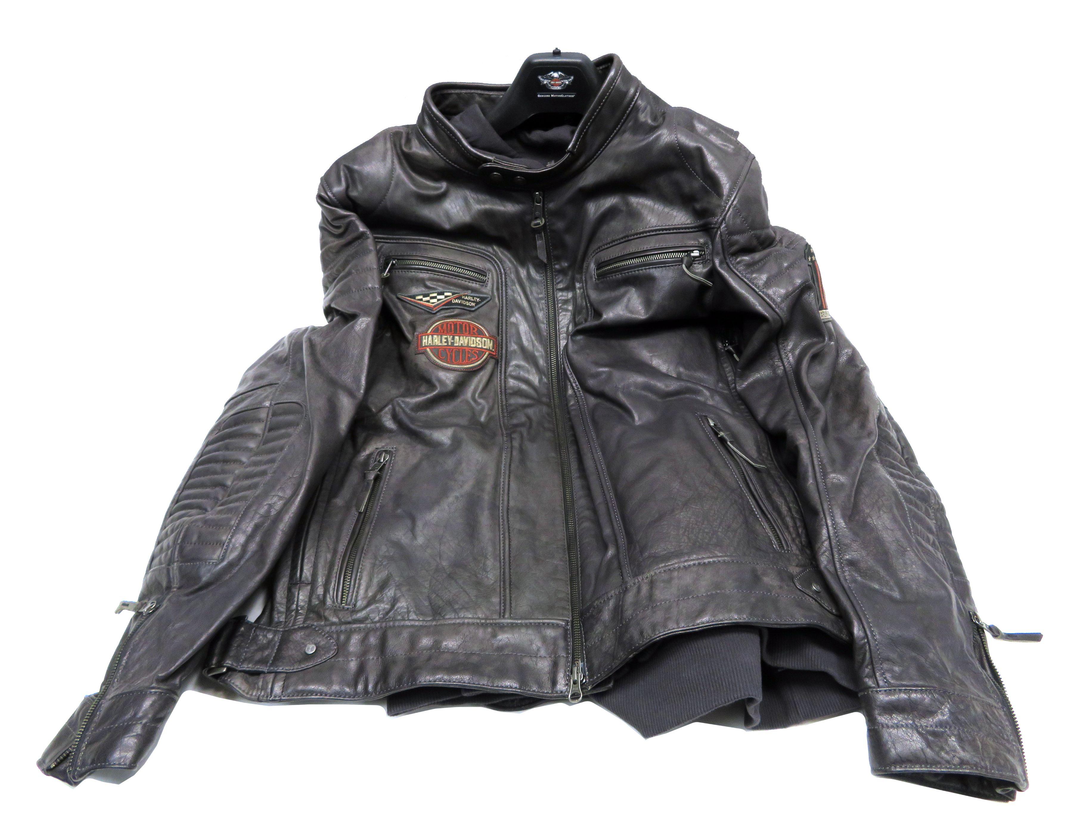 2b002e5dd58 Details about Harley-Davidson Mens Marmax Racing Eagle Black Leather Jacket  97002-18VM VT