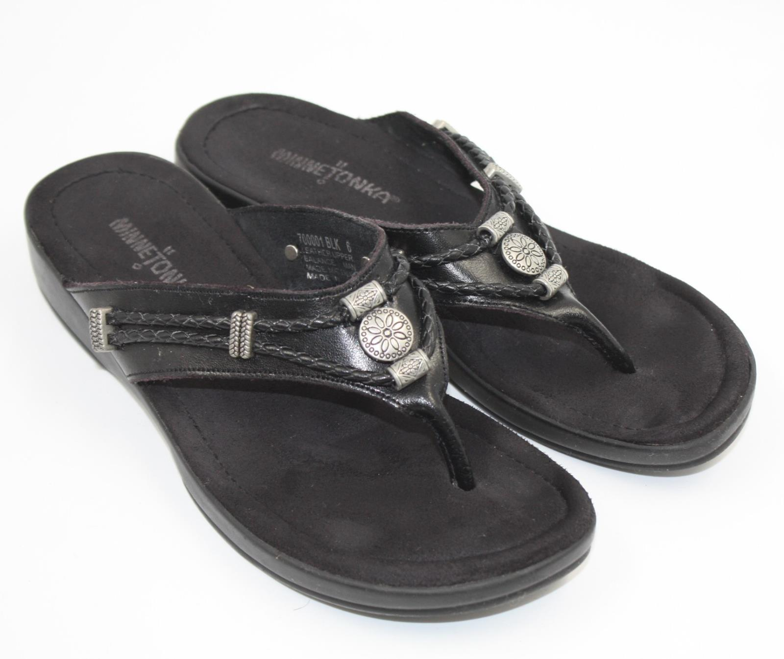 fc163a7d4 Details about Minnetonka Womens Ladies Black Leather Thongs Flip Flops  Sandals Shoes Size 6M