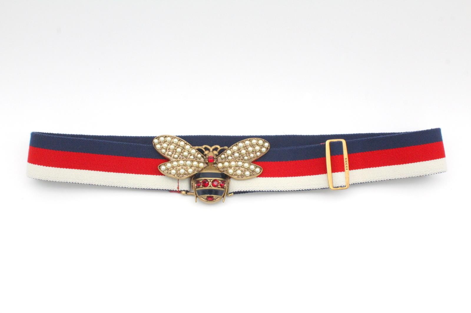 05920fa339f Gucci Sylvie Web Belt with Bee (453277HGW2T) Red   White   Blue ...