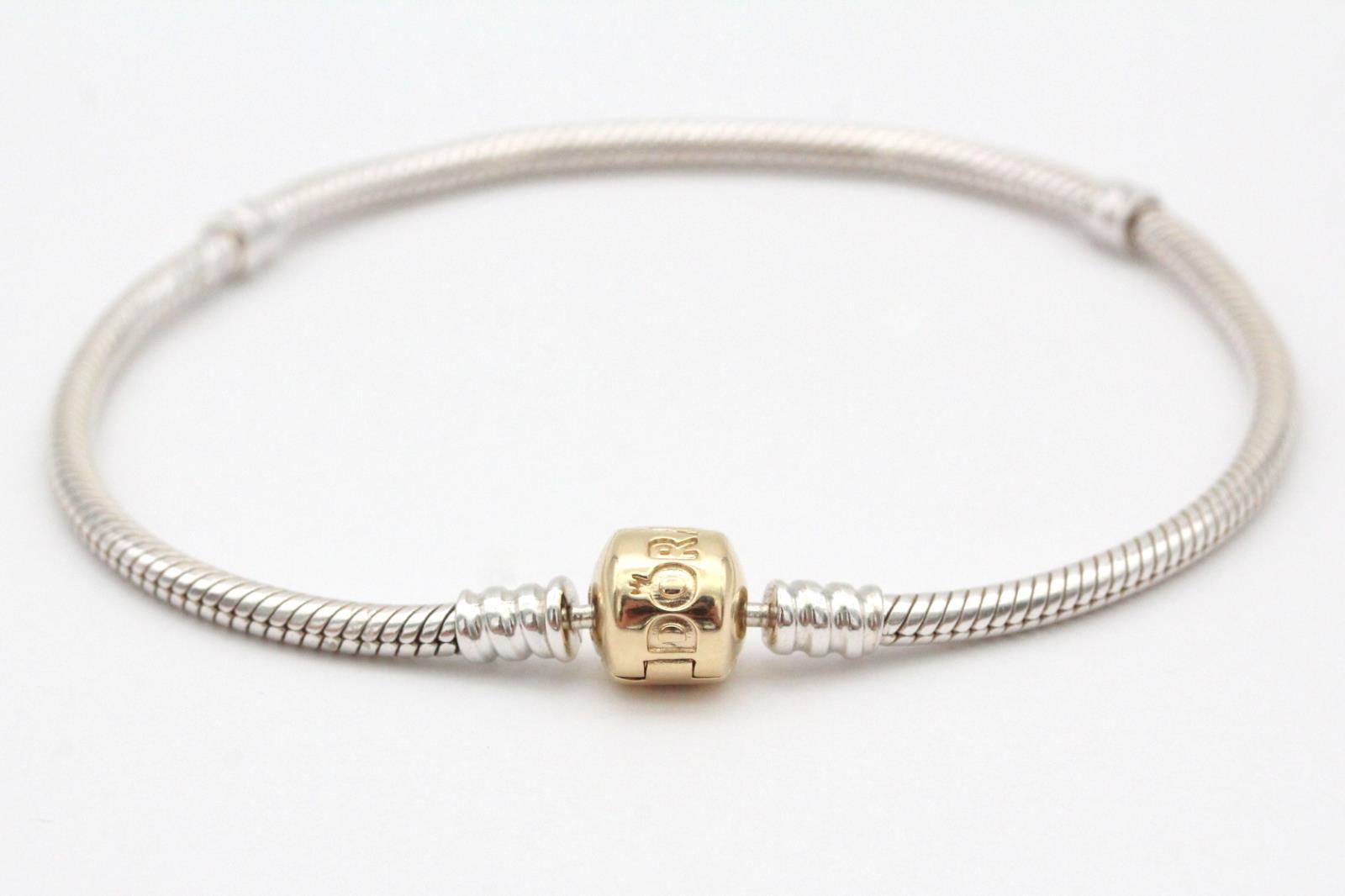 Pandora 590702hg Sterling Silver 14k Yellow Gold 21cm Charm Bracelet New Ebay
