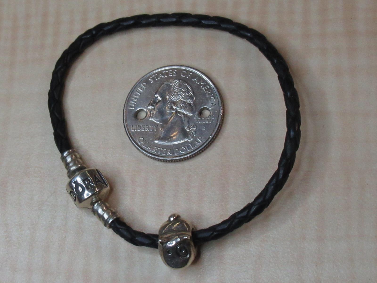 3490e3f88 Pandora ALE Sterling Silver Jewelry Woven Leather Cord Bracelet Dog ...