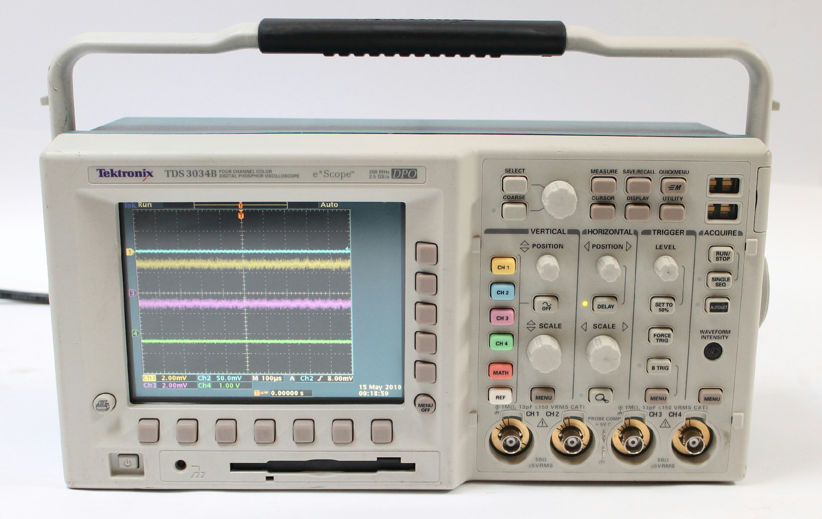 Tektronix TDS3034B 300 MHz 4 Channel 2 5 GSa/s DPO Digital Phosphor  Oscilloscope
