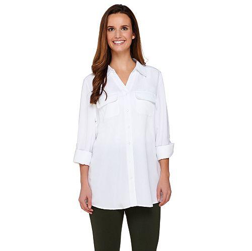 Denim /& Co Roll Tab Slv Button Soft Utility Tunic White M NEW A227885