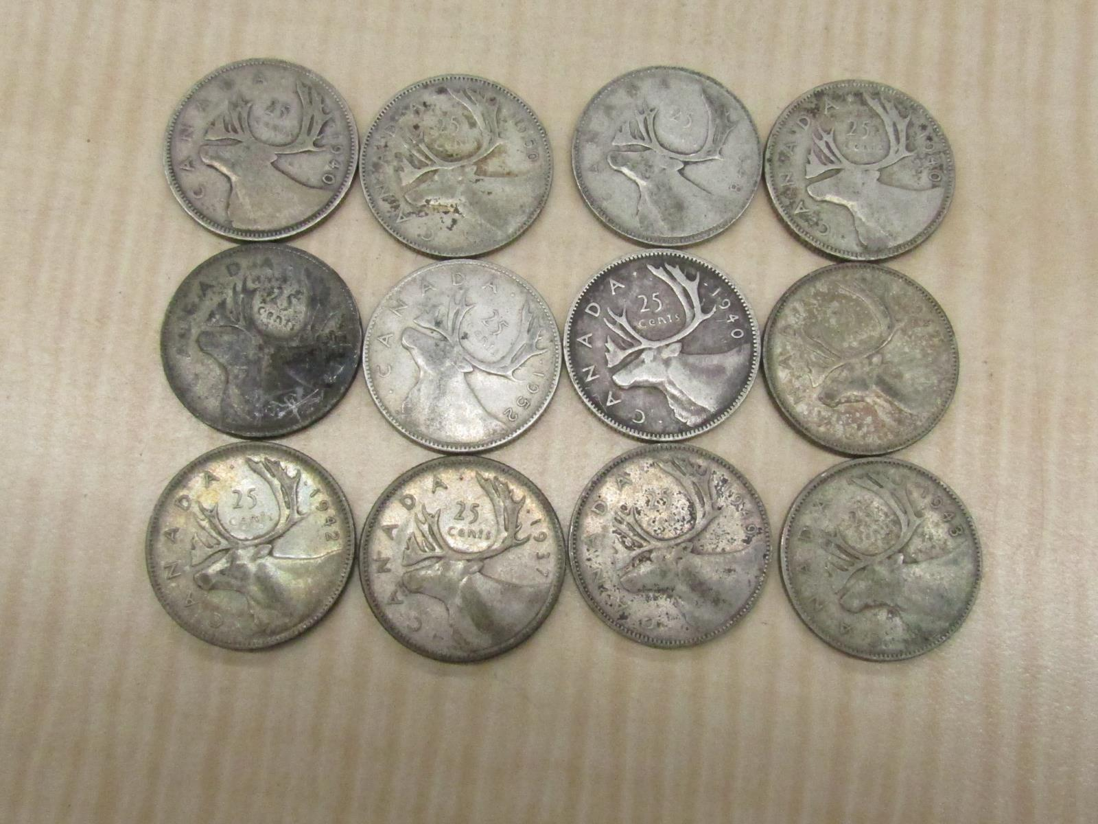 Over 12 Troy oz Silver Lot  20 Canada 80/% Silver Dollar Coins Various Dates