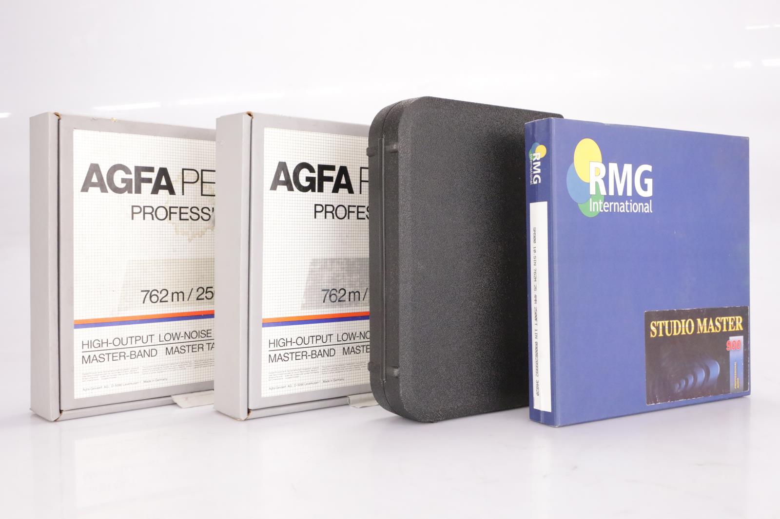 "2 AGFA PEM 469 2"" x 2500' Analogue Tape Reels & RMG Studio Master 900 1"" #37246"