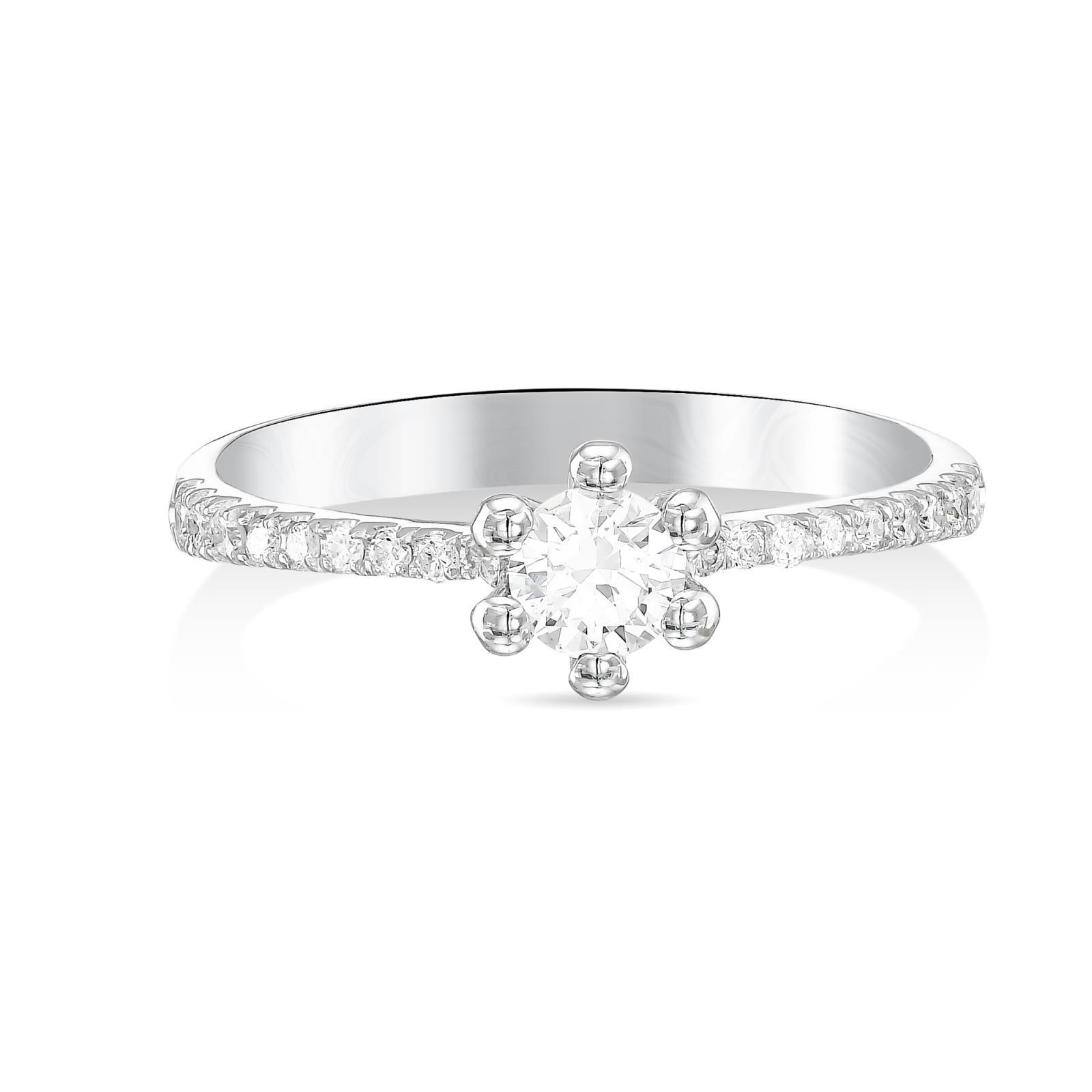 14K White Gold Round 0.75 Ct Solitaire Diamond Engagement Ring Promise Ring