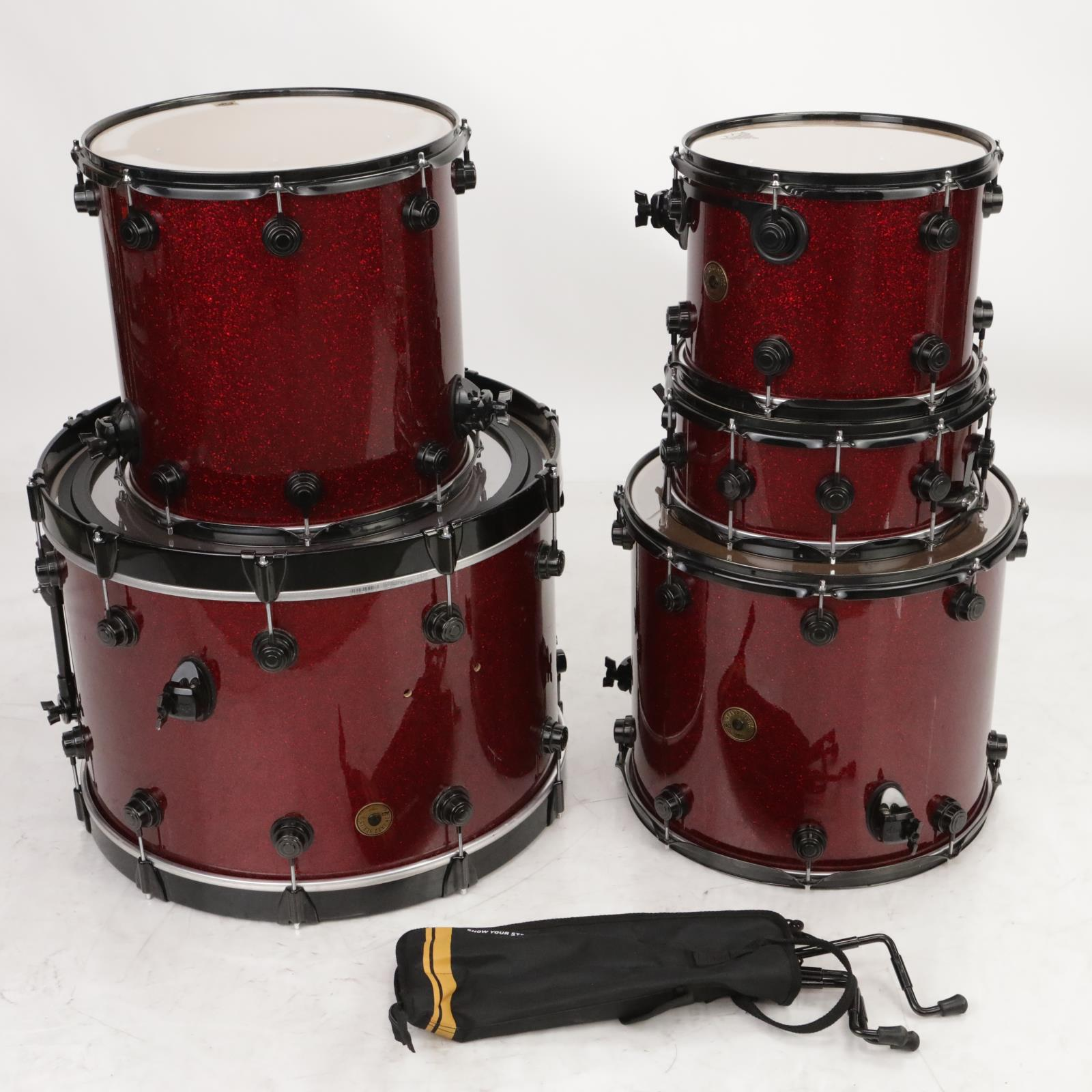 DW Jazz Series 5 pc Drums Red Sparkle Drum Kit Black Hardware Roy Mayorga #37623