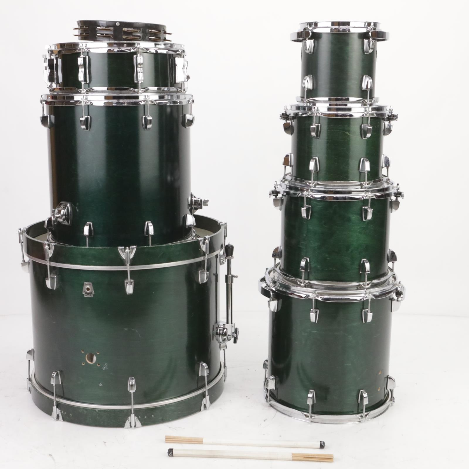 1998 Ludwig Classic Birch 7pc Shell Pack Drum Set Green w/ Humes & Berg #38572