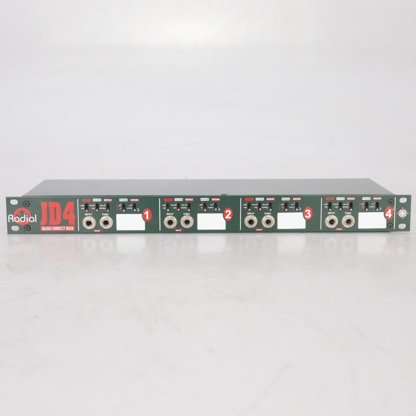 Radial JD4 Rackmount 4-Channel Passive Instrument Quad Direct Box #38680