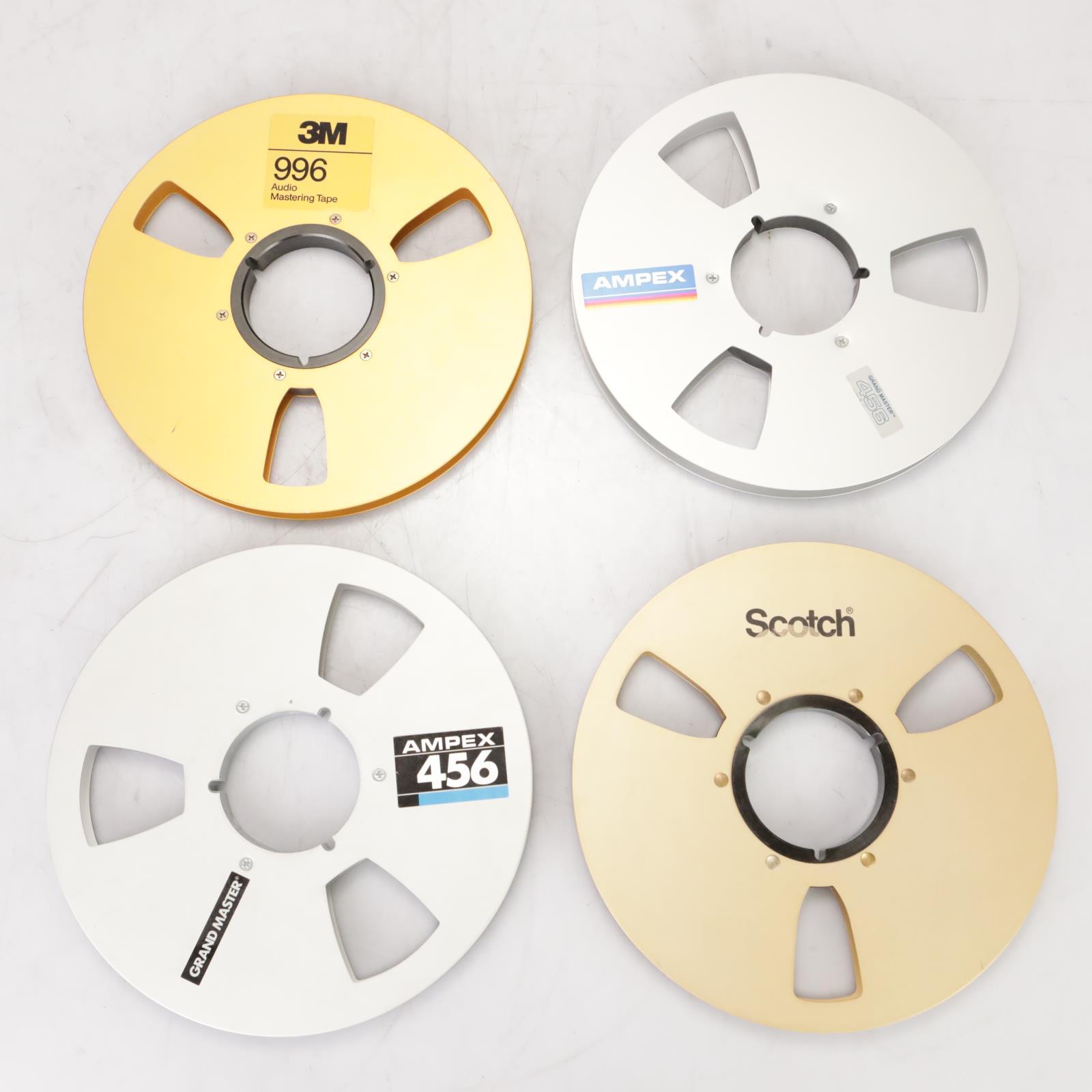 "4 Ampex 3M Scotch 1/2"" x 10.5"" Empty Metal Take-Up Master Tape Reels NAB #39156"