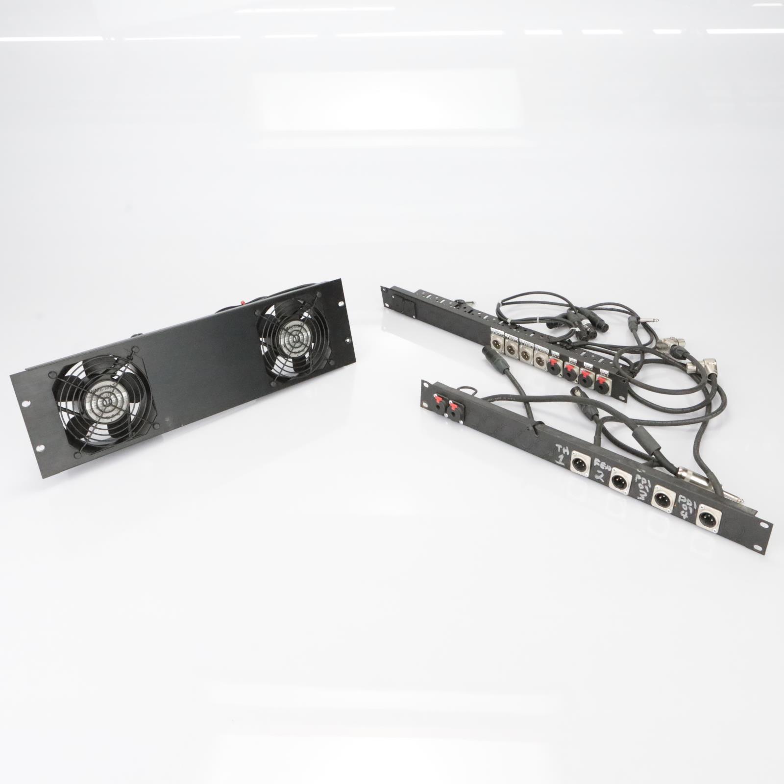 2 Instrument Bass Amp Acoustic Guitar DI Box Patchbay Racks w/ Fans  #39477