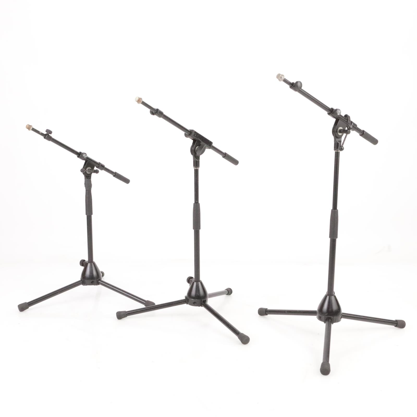 3 K&M Short Low Mic Microphone Studio Booms Stands w/ 3 Extra Atlas Booms #39467