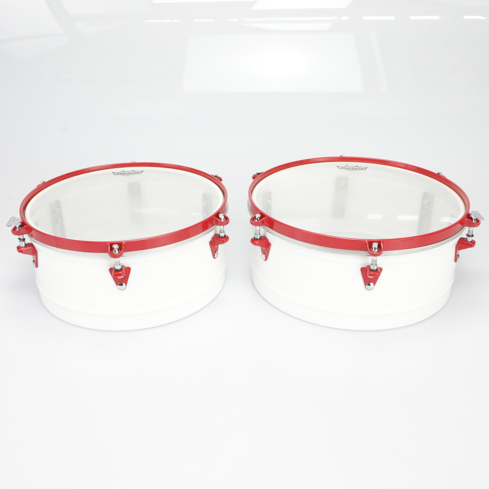 "LP 14"" & 15"" Timbale Set w/ Percussion Extras Rare White w/ Red Hardware #39746"