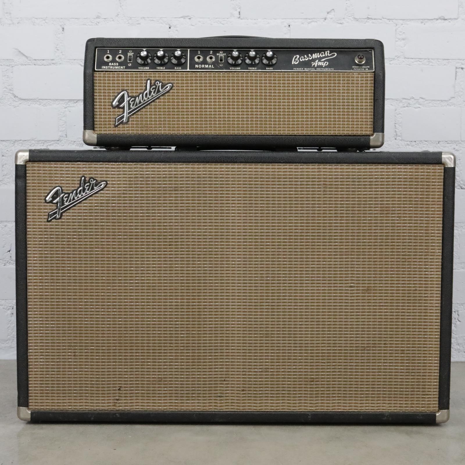 1967 Fender Bassman Tube Amp Head & 2x12 Piggyback Cabinet Jensen #40470