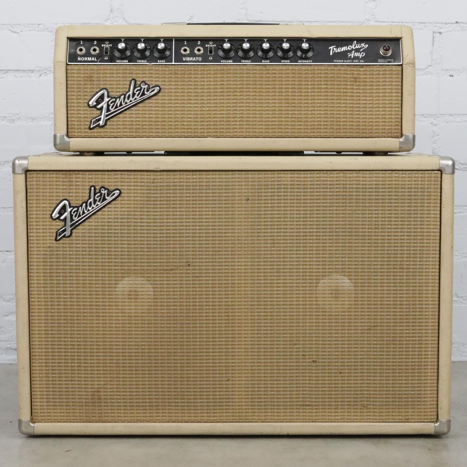 1964 Fender Tremolux AA763 Tube Amp Head & 2x10 Cab Cabinet Blonde #40489