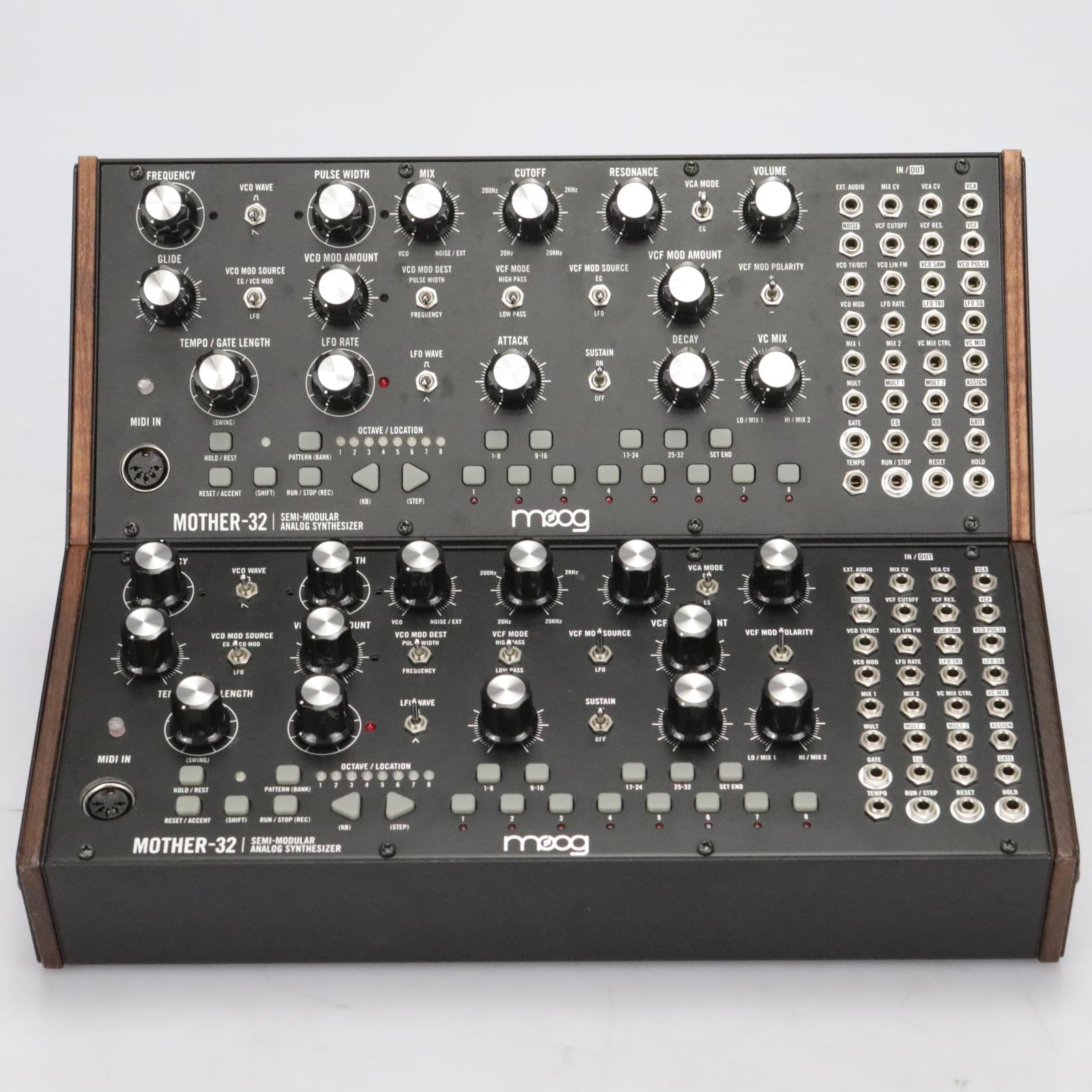 2 Moog Mother-32 Semi-Modular Analog Synthesizers w/ 2-Tier Rack Stand #40897