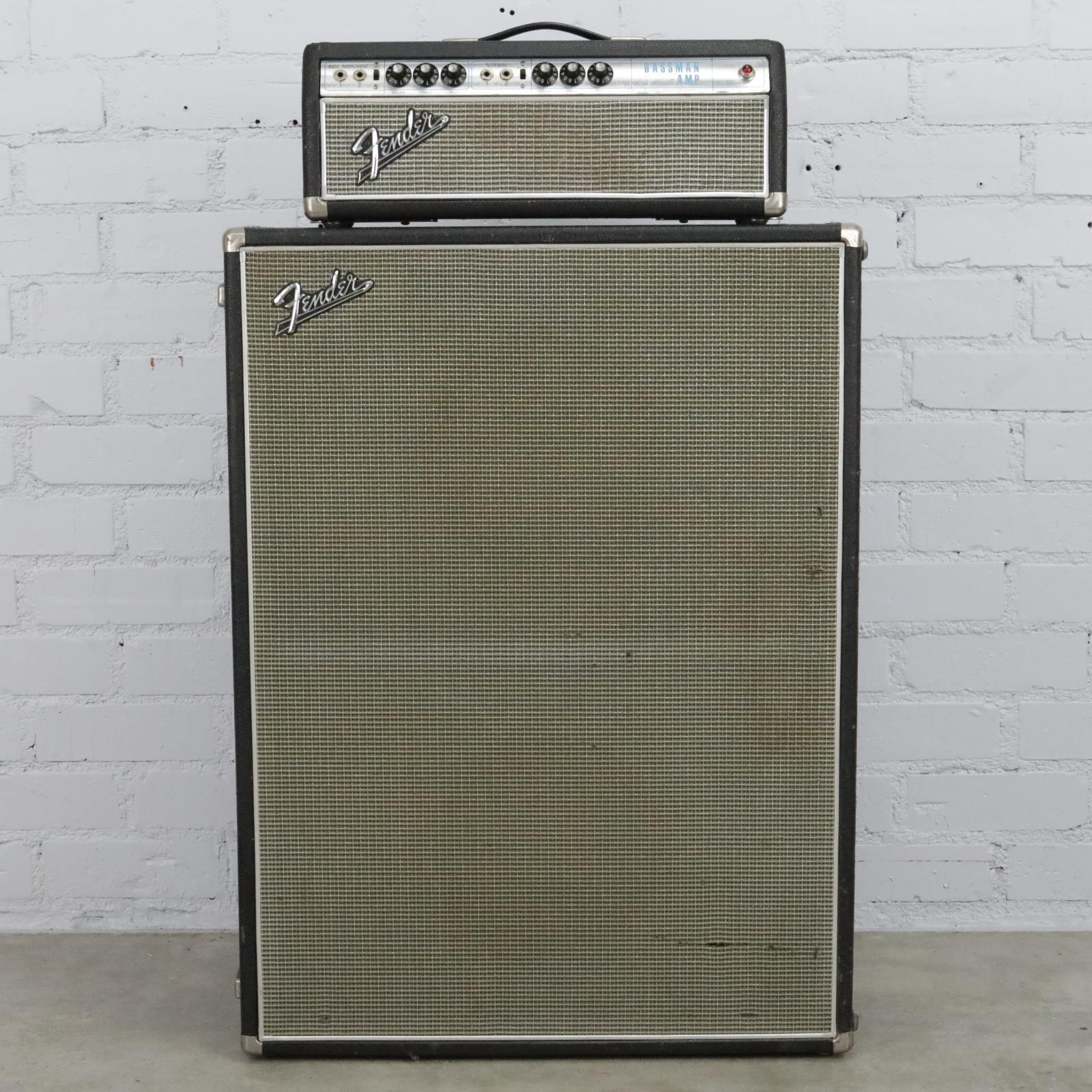 1968 Fender Bassman Amp Head & 2x15 Speaker Cabinet Guitar Bass Cab #40104