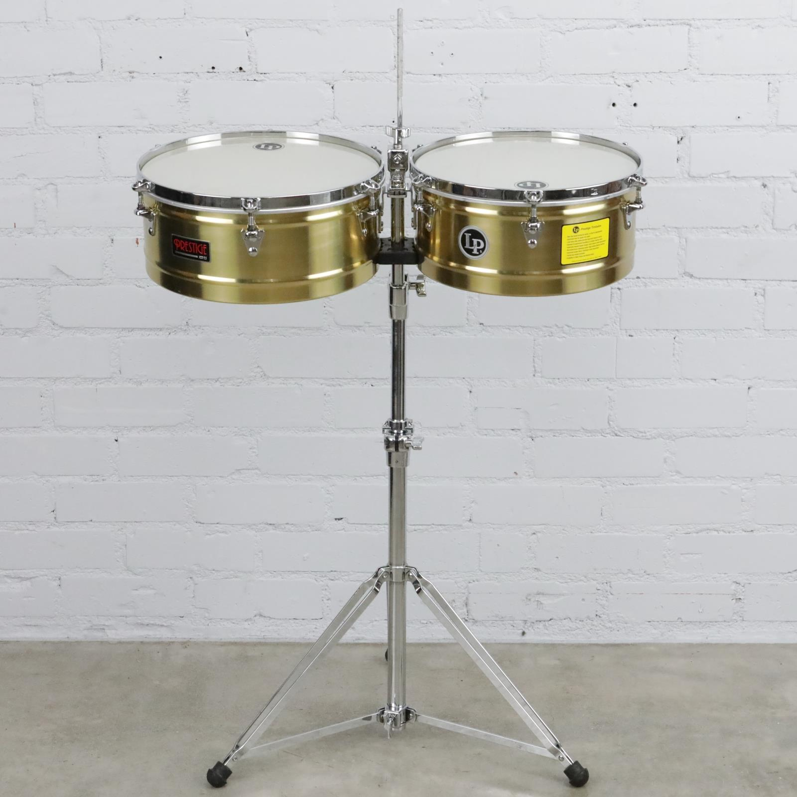 """LP Prestige Series Brass Timbales 14"""" & 15"""" w/ Road Ready Case & Stand #41037"""