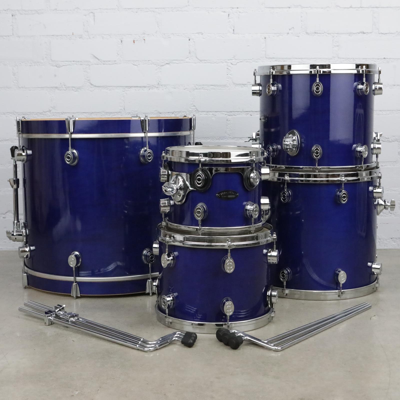 Pacific LX Series 5pc Drum Kit Percussion Kick Toms Blue #39839