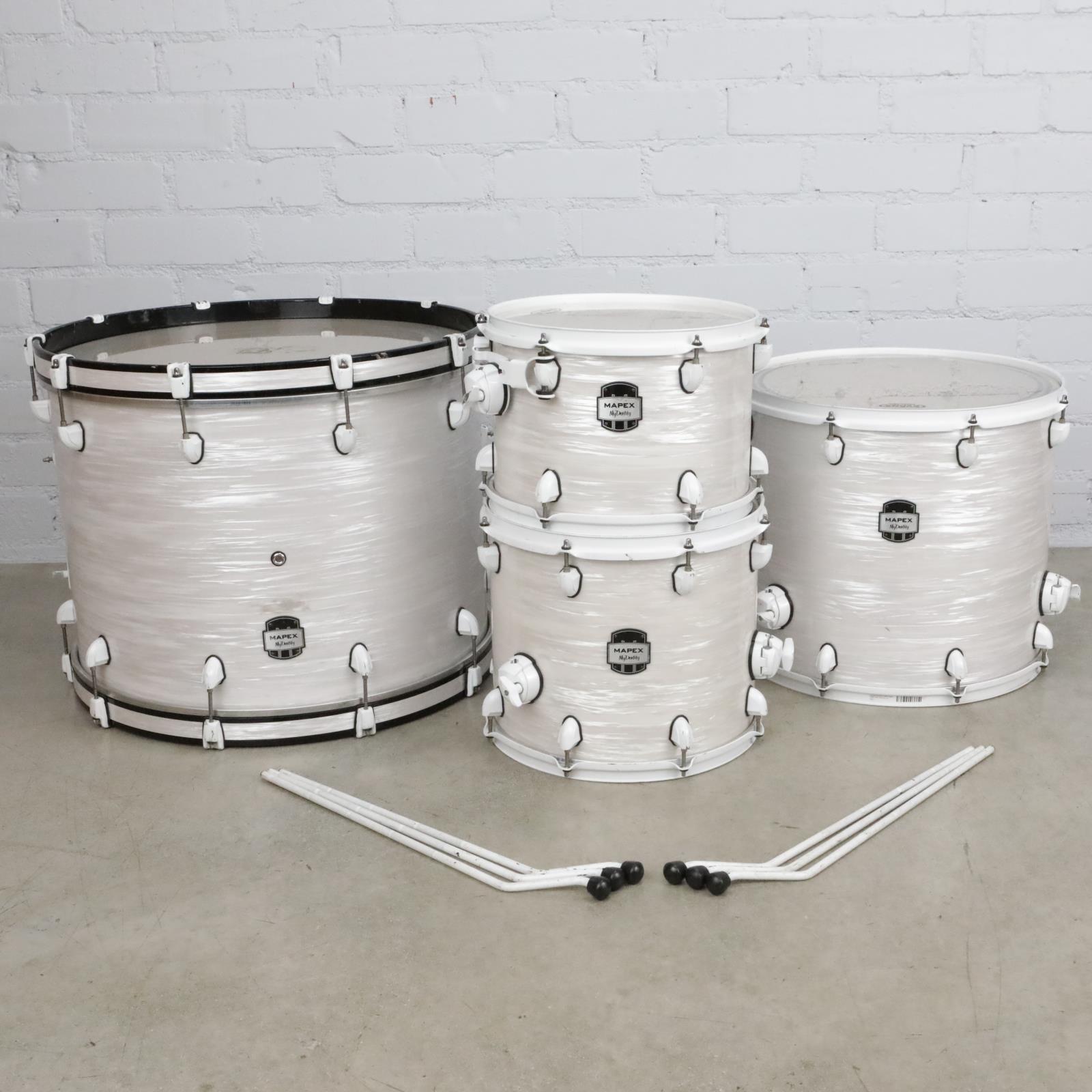 "Mapex MyDentity 4pc White Ripple Marine Pearl Maple Drums 24"" 18"" 14"" 13"" #41075"