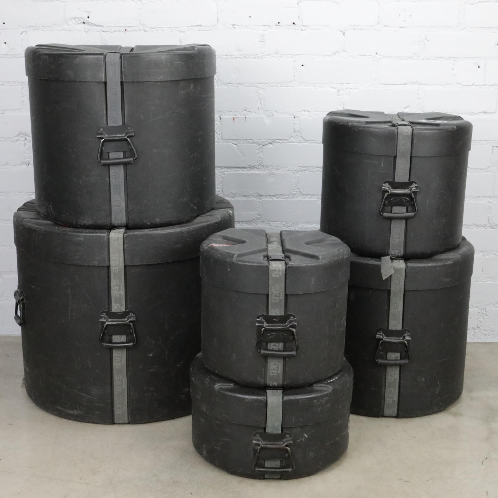 "6 SKB DRP4 Hard Shell Drum Cases 14"" Snare 12"" 14"" 16"" 18"" Tom  22"" Kick #41232"