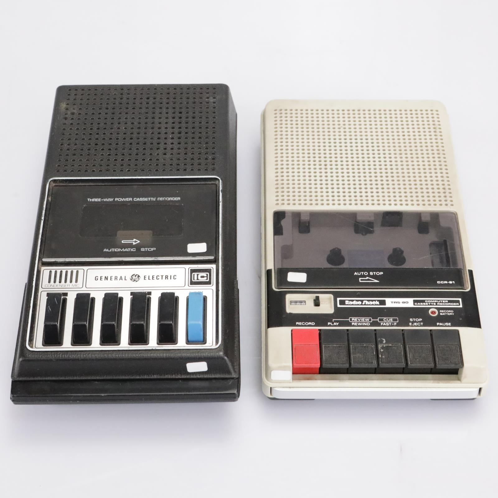 GE M8445B & Radio Shack CCR-81 Vintage Portable Cassette Tape Recorders #42783