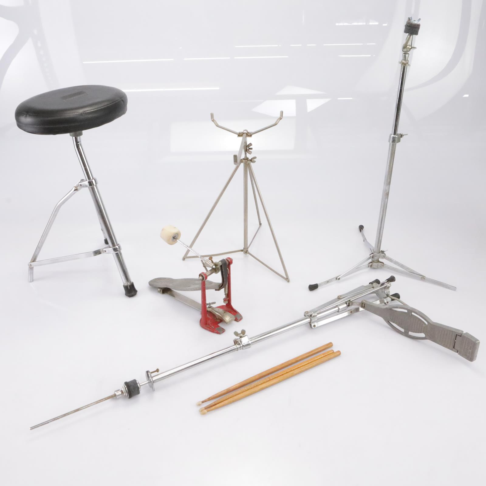 Vintage Ludwig Throne Bass Pedal Hi-Hat Cymbal Snare Stands & Case #43367