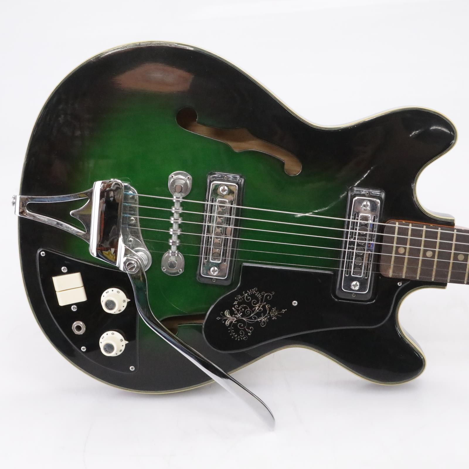 Teisco Del Ray EP-8T Green Burst Hollow-Body Electric Guitar #43848