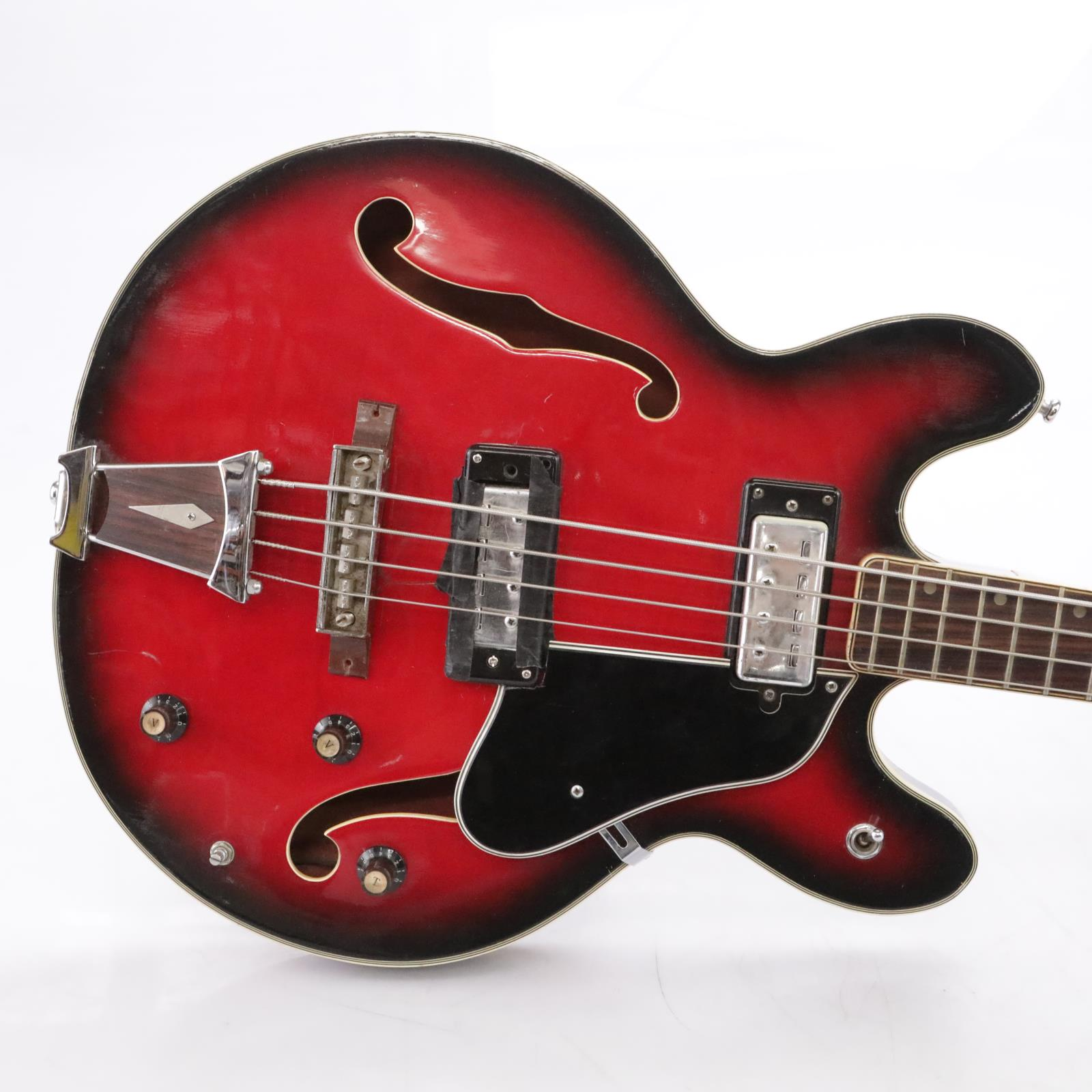 Vintage Univox Coily Red Burst Hollowbody Electric Bass Guitar #43856