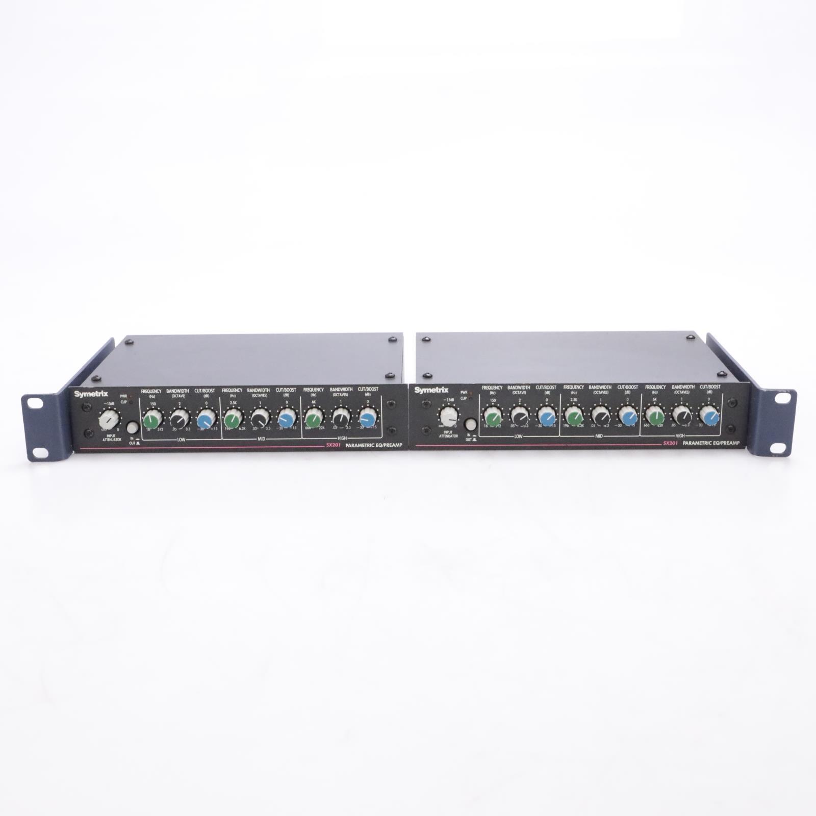 2 Symetrix SX201 Parametric EQ/Preamp Preamplifier Equalizer w/Rack Mount #43817
