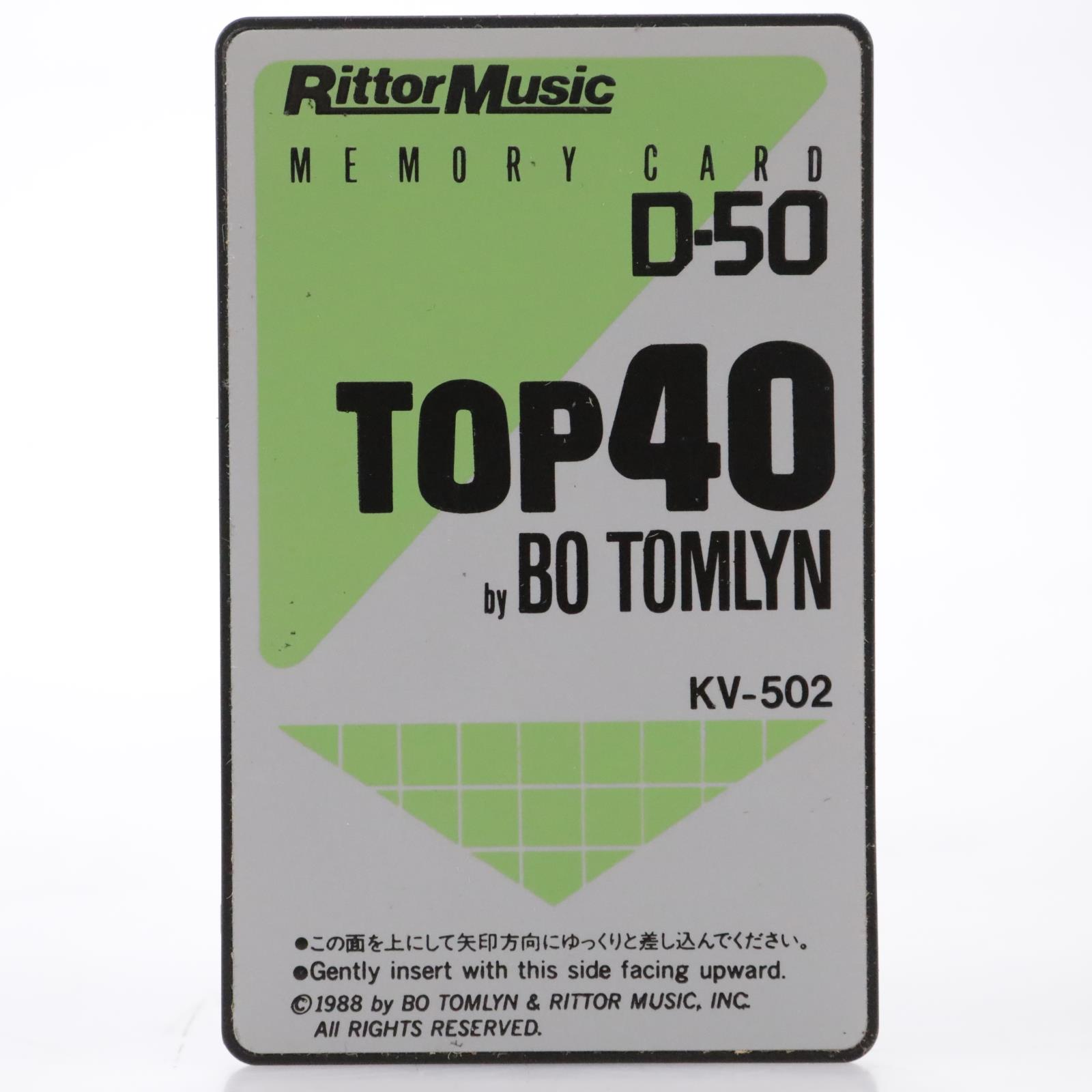 Rittor Music KV-502 Top-40 by Bo Tomlyn Roland D-50 Memory Sound Card #44125