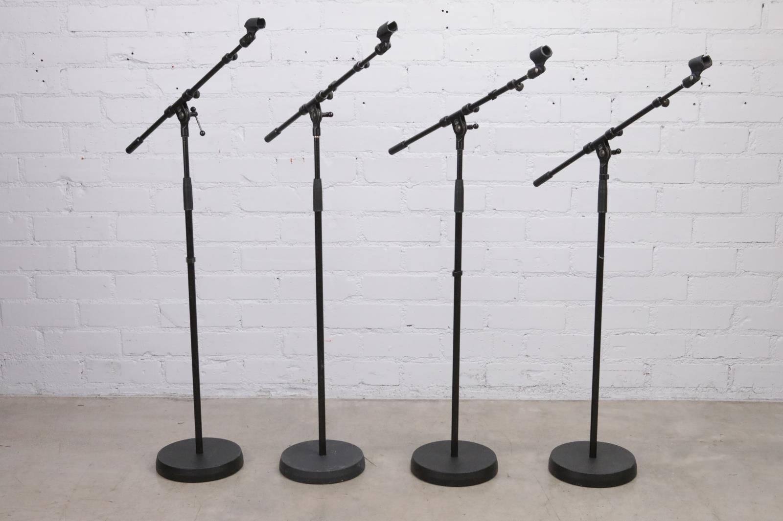 4 AKG Round Base Studio Mic Boom Stands w/ Cables Owned by David Roback #44664